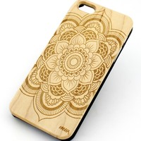 W13 Wood Case for APPLE IPHONE 4/4S, 5/5S, 5C Cover - FULL MANDALA AZTEC