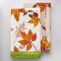 Harvest 2-pc. Watercolor Leaves Kitchen Towel Set