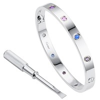 """""""Cartier"""" Popular Ladies Men Cute Coupe Rhinestone Ring With Colorful Diamond Bracelet I"""
