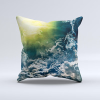 Bright Sun Over Cloud-Magic Ink-Fuzed Decorative Throw Pillow