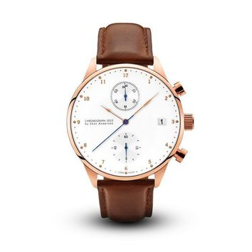 1815 Chronograph Rose Gold Brown Strap Watch