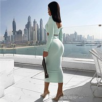 2020 new women's sexy solid color long-sleeved top skirt two-piece suit
