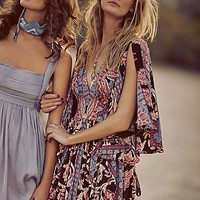 Free People Womens Printed Fern Maxi Party Dress