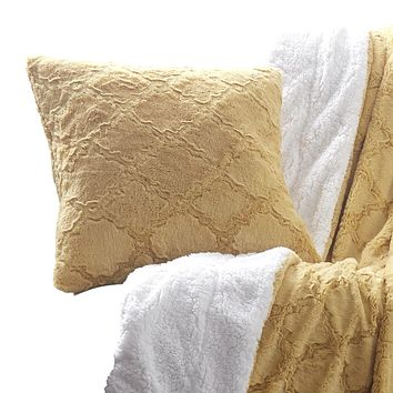 Tache Faux Fur Mustard Yellow Moroccan Lattice Pattern Pillow Cover (3397)