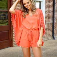 your my love romper - coral