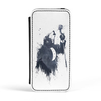 Wolf Song 3 Premium Faux PU Leather Case Flip Case for Apple iPhone 5 / 5s by Balazs Solti