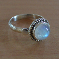 Silver Moonstone Ring,Sterling Silver,Round Shaped,Silver Ring,Gemstone Ring,June Birthstone,Handmade Jewelry Solid 925 Ring 5 6 7 8 9 10 US