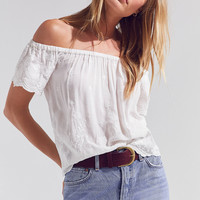 Angie Embroidered Off-The-Shoulder Top | Urban Outfitters