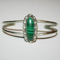 Beautiful Vintage Sterling Silver with Malachite Bracelet 5.5 in -US free shipping