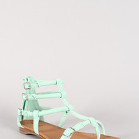 Qupid Agency-307 Buckle Strappy Gladiator Flat Sandal