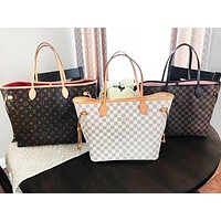 LV Tide brand classic old flower checkerboard female shopping bag two-piece