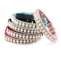Rhinestone and Pearl Sparkly Cat or Small Dog Collar