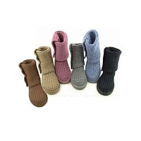 UGG fashion woollen ankle boots knit thick wool snow boots women woollen boots