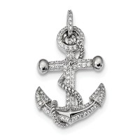 925 Sterling Silver Rhodium Plated Cubic Zirconia Anchor Shaped Pendant