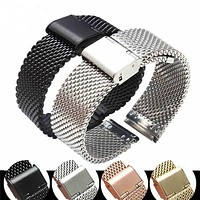 Watchband Universal Milanese Strap Stainless Steel Watch Mesh with Thick Wire Hanging Buckle Watch Accessories 18 20 22 24 mm