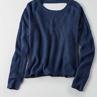 Don't Ask Why V-Neck Crop Sweater, Blue