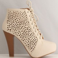 Qupid Puffin-67 Beige High Heel Boot Nubuck Lace up Platform Bootie - Perforated High Heel Beige Bootie (10)