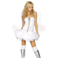 Angel Princess Strapless Frill Skirt Fairy Halloween Costumes With White Wings For Girls