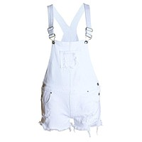 Fashion Girls Loose Ripped White Jean Conjoined Shorts