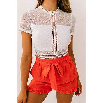 Better Here Ruffle Shorts (Red Orange)