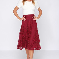 Lace in My Heart Burgundy Lace Midi Skirt
