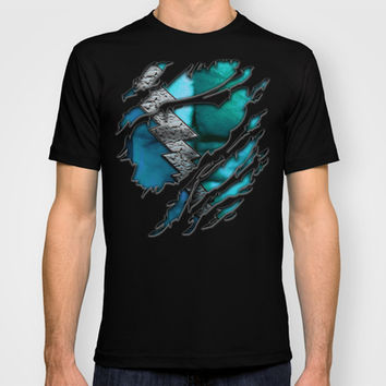 QuickSilver Chest Ripped Torn Blue teal Made in USA Short sleeves tee tshirt