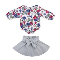 Casual Toddler Baby Girls Clothes Sets Outfit Bodysuits Tops Long Sleeve Skirts Bow Coue Clothing Set Baby Girl 0-24M