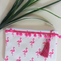 Flamingo Canvas Zipper Bag