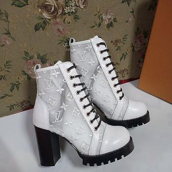lv louis vuitton trending womens black leather side zip lace up ankle boots shoes high boots