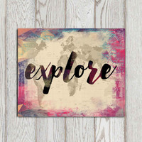 Travel print Explore print Grunge red blue wall art Travel decor World map Travel quote poster print Canvas travel art DOWNLOAD Travel gift