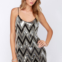 Point Glass Black and Silver Sequin Dress