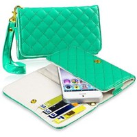 Insten® Leather Cell Phone Wallet Case, Green