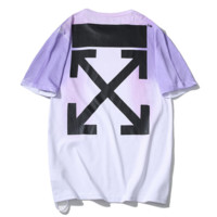 Off White New fashion cross arrow inkjet print couple top t-shirt