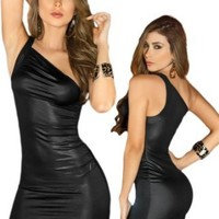 Amazon.com: Sexy Chic Black One Shoulder Fitted Bodice Mini Dress: Clothing