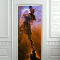 Door STICKER space eagle cosmos exploration constellation mural decole film self-adhesive poster 30x79inch(77x200 cm)