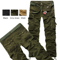 Mens Military outdoor Loose Large Size Cotton Multi-pockets Cargo Pants.