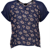 Floral Printed Zip Back Short-Sleeve
