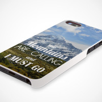 iPhone 5 Cell Phone Case The Mountains Are Calling & I Must Go Landscape Camping Hiking Apple Protective White Plastic Hard Cover VM-1040