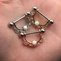 Hot Sale 2Pcs titanium Nipple Shield Piercing 14G Opal Nipple Rings Body Jewelry Good Friend Gift