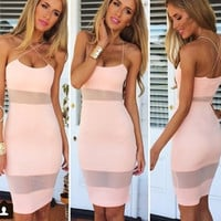 Women Summer Fashion Pink Straps Dress Deep V-neck Backless Tight Package Hip Bandage Party Bodycon Midi Dress DY-29 = 5738792001