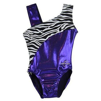 O3GL032 Obersee Girls Gymnastics Leotard One-Piece Athletic Activewear Girl's Dance Outfit Girls' & Women's Sizes - Purple Zebra