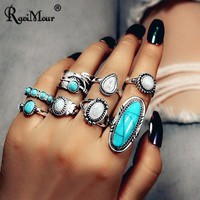 RAVIMOUR 8Pcs Anillos Mujer Boho Big Stone Women Rings Set Indian Jewelry Punk Antique Silver Feather Knuckle Rings Female 2019