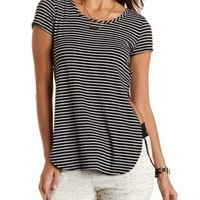 Open-Side Striped Maxi Tee by Charlotte Russe