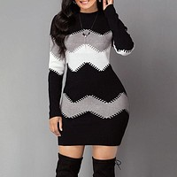"""The """"Comfy"""" Multi-Color Long Sleeve Fashion Knitted Sweater Dress"""