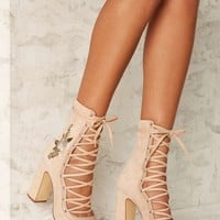 Sylvia Embroidered Lace-Up Heel