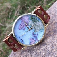 High quality real leather watches, map of the world watches, unisex watches