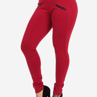 Red High Waisted Pants with Leather Trim