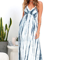 White Crow Sunstreak Blue Tie-Dye Maxi Dress