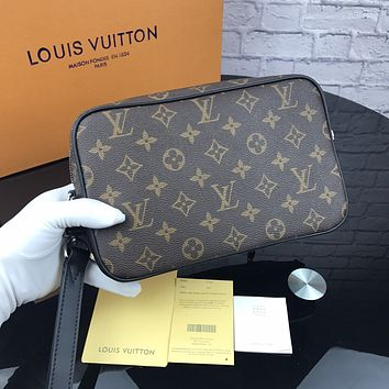 LV 2018 new men's high quality casual business wind canvas zipper hand clasp clutch Coffee Monogram