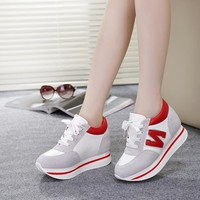 Thick Crust Autumn Height Increase Shoes Leather Casual Low-cut Platform Shoes [11884161235]